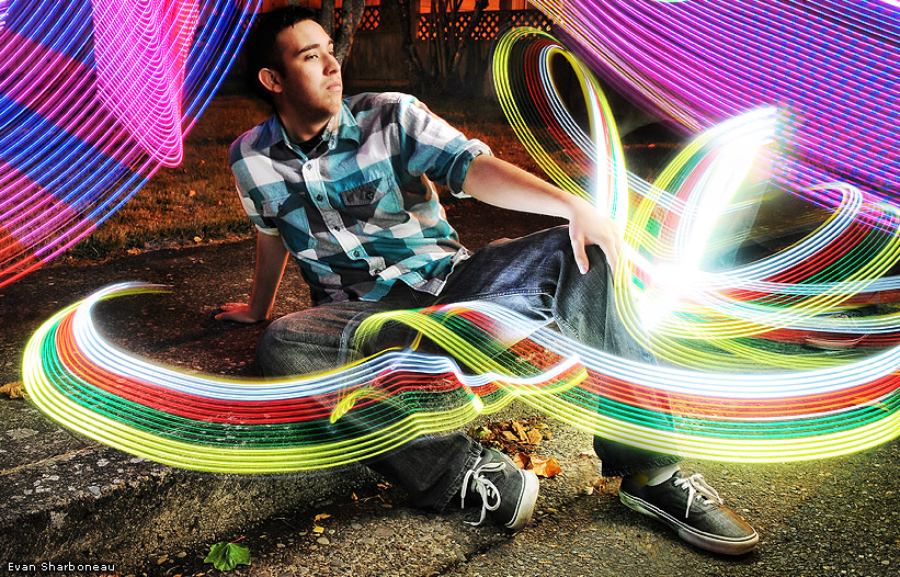 Male Light Painting Portrait with LED Strip