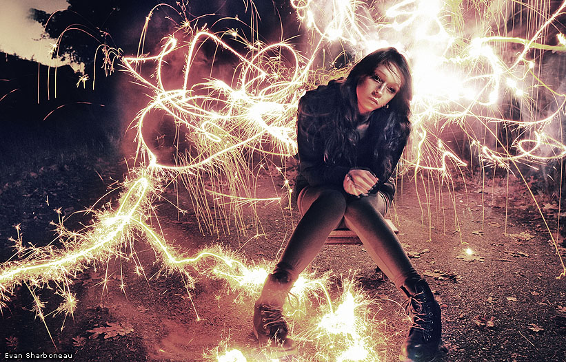 Long Exposure Light Painting Portrait of Girl with Sparkler